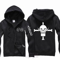 Wholesale cosplay one piece hot for sale - New Anime one piece Ace Smile cosplay costume Hooded Hoodies Jacket coat Hot Sale