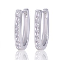 Wholesale Earring Brass - Fashion Statement Jewelry 18K White Gold Plated Classic Hoop Earrings Women Brinco Earing Gift Free Shipping ES100