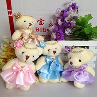 Wholesale Mini Bear Plush Toys - 12CM 10pcs lot pp cotton kid toys plush doll mini small teddy bear flower bouquets bear for wedding