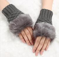 Wholesale rabbit fur hand wrist warmer resale online - Women Lady Winter Knitted Fingerless gloves adult woman Faux Rabbit Fur Wrist Hand Warmer Gloves Mitten kint yarn sport gloves