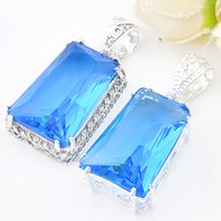 Wholesale china blue topaz - Mix 2Pieces 1 Lot Classic Holiday Jewelry Fire Sky Blue Topaz 925 Sterling Silver Plated Pendants Necklaces for Holiday Party Gift