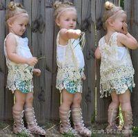 ingrosso neonati poncho baby-INS baby girl floreale crochet vest bambini all'uncinetto scialle lavorato a maglia scialle cardigan cappotto cardigan top poncho carino nappe frange gilet