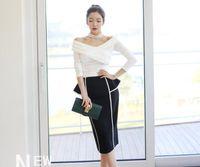 Wholesale Korean Suits Shoulder Women - Korean women in the autumn and winter, a fashion show shoulder, bottom shirt + hip skirt suit