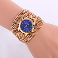 Wholesale Geneva Bangle Watches - No Geneva Fashion Watch Quartz Luxury Brand Stainless Steel Chain Bangles Gold Watches Men Casual Wrist Watch 6 Colors