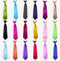 Wholesale Cheapest Neck Ties - Cheapest Baby Boy School Wedding Elastic Neckties neck Ties Solid Plain colors 3 Child School Tie boy