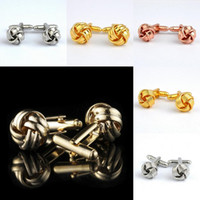 Wholesale 1 Pair Mens Cufflinks Knot Round Ball French Shirt Cuff Link Fashion Party Wedding Jewelry Gift With Box