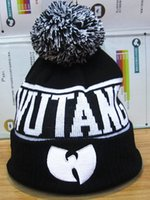 Wholesale Spring Knitted Caps - Hot sale Winter&Autumn Wu Tang Clan Embroidery Hip Hop Beanie Pompon Knitted Caps Men Women Sport Cotton Four Leaf Clover Hats High Quality