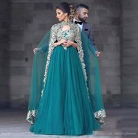 Wholesale prom dress sale free shipping resale online - Hot Sale Middle East Evening Dress With Wrap Prom Dresses Appliques Muslim Kaftan For Arabic Women High Neck Dress