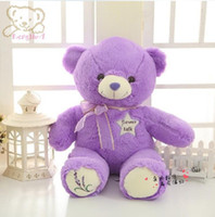 Wholesale Large Purple Doll - baby toys 45cm Purple lavender foot Bear plush toy doll large teddy bear birthday gift Christmas birthday Gift toys for baby