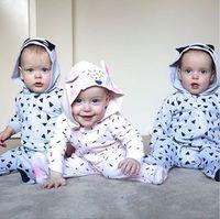 Wholesale Girls Footies - 2017 INS Boys Girls Baby Wrap Foot Jumpsuits Cartoon Rabbit Batman Footies Rompers Clothing Newborn Onesies Boutique Toddler Romper Clothes