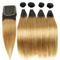 Wholesale Indian Human Hair Raw - Ombre Human Hair Silky Straight T1b 27 Dark Root Honey Blonde Extensions Hair Weaves 4 Bundles with Lace Closure Raw Indian Human Hair