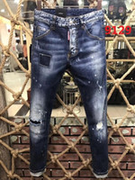 Wholesale black hole models - 2017 New Style Men's Denim Jean Embroidery Pants Holes Jeans Button Trousers Mixed Order! New Model