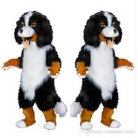 Wholesale White Dog Costume For Adults - 2017 Fast design Custom White & Black Sheep Dog Mascot Costume Cartoon Character Fancy Dress for party supply Adult Size