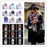 Wholesale Scarves Designers - 36 colors Winter Scarf Tartan Cashmere Scarf Women Plaid Blanket Scarf New Designer Acrylic Basic Shawls Women's Scarves and Wrap YYA406