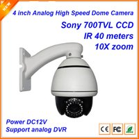 Wholesale Indoor Ptz Cameras - 4 inch Sony 700tvl Mini high Speed Dome Pan Title zoom Camera PTZ camera with 40m IR Distance 10X optical Zoom camera CP-5107R
