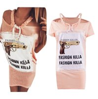 Wholesale Red Lace Camisole - 2016 Womens Summer New Product Camisole Strapless Lace Split Joint Pistol Letter Printing Mini- Tshirt Dress Girl Dresses