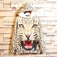 Wholesale Leopard Hoodie Big Size - 2016 Autumn new mens big size hoodie total 3D print vivid animals ungry white leopard painting high quality sweatshirts free shipping