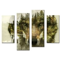 Wholesale wooden forest animals - 4 Pieces Canvas Paintings Wall Art Picture for Home Decor Wolf Pine Trees Forest Animal Print On Canvas with Wooden Framed