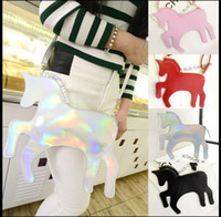 Wholesale wallet bag clutch hand online - 3D Unicorn bag Shinning One shoulder Girls Ladies Hand bag purse wallet Leather Clutch Handbag Crossbody Bag KKA2879