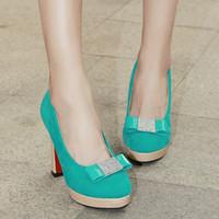 Wholesale Lady Bow Pump Platform - women fancy pumps shoes bow round toe platform slip on office ladies shoes