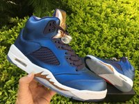 Wholesale Gold Top Blue - 2016 New air retro 5 Bronze blue Olympic white gold retro 5s men basketball shoes sports sneakers Top quality wholesale SIZE 7-13