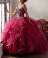 Wholesale Debutante Gowns Tulle - Dark Red Quinceanera Dresses Keyhole Back Crystal Beading Masquerade Ball Gowns Ruffled Ball Gown Princess Debutante Dresses