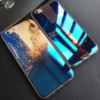 Gros-Blue-ray Cell Phone Case Cover pour iPhone 6 6s 6 Plus 5 5s Ville Hexagonal diamant souple TPU Téléphone Housse de protection Shell