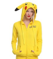 Wholesale Women Yellow Costumes - New Fashion Poke Face Tail Zip Hoodie Hoody Sweatshirt Pikachu Costume for adult and big girls C1133