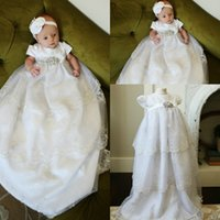 Wholesale Lace Christening Gown For Boys - 2016 Lovely Princess Short Sleeve With Appliques Baptism Gown Cute Christening Dresses for Baby Girls and Boys First Communion Dresses