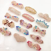 Wholesale Peacock Hair Barrettes - 2016 New Hot Fashion Women Girl Cute Colorful Shinning Crystal Rhinestones Peacock Hairpin Hair Clip Jewelry