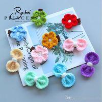 Wholesale Little Plastic Flower - 10 styles Kids hair accessories little girl Bow Flower boutique Hair Toddler barrettes Handmade Hand Crocheted flower children's headge