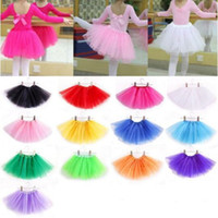 Wholesale Soft Dress Girls Kids - Hot Selling Girls 14 Colors Candy Color Kids Tutus Skirt Dance Dresses Soft Tutu Dress 3layers Children Clothes Skirt Princess