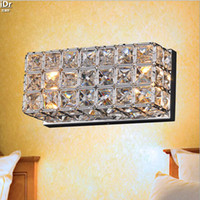 Wholesale Square Bedside Lamp - Contemporary crystal square LED energy-saving lamps wall lamp bedside lamp mirror front lamps bedroom Wall Lamps