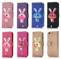 Wholesale Iphone Star Pouch - 3D Rabbit Liquid Leather Wallet Case For Iphone 7 Plus 6 6S SE 5 5S Glitter Star Bling Glitter Quicksand Cartoon Cute ID Card Slot Pouch