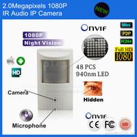 Wholesale ip hidden camera motion detector - Full HD 1080P Security Pir Network Camera Covert Audio Nightvision PIR IR IP Camera Mini PIR Motion Detector Hide Pinhole Camera