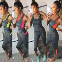 Wholesale Womens Cycling Clothes Xl - womens tracksuits sports Athletic Gym Yoga Clothes Short sets Running Fitness Racerback Tank + Mid-Calf Shorts two piece pant set