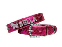 Wholesale Personalized Xs Rhinestone Dog Collars - Free Shipping PU Leather Bling Personalized Dog Collar Customized Free Name Rhinestone Buckle Pink Letter XS S M L XL