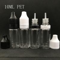Wholesale Needle Tip Dropper - 10ml E Liquid Bottle PET Transparent Plastic 10 ml Dropper Needle Tip Bottle With PRESS & TURN Caps For E Juice Vape ELiquid DHL