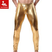 Wholesale Sleeping Sexy - Wholesale-Men long johns men's hot thin elastic line pants male fashion sexy lycra long johns sexy underpants legging tight sleep bottoms