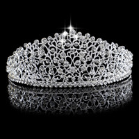 Wholesale hair crowns for brides - Gorgeous Sparkling Silver Big Wedding Diamante Pageant Tiaras Hairband Crystal Bridal Crowns For Brides Prom Pageant Hair Jewelry Headpiece