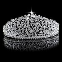 ingrosso cappelli da sposa-Splendida Sparkling Argento Big Wedding Diamante Pageant Tiaras Hairband Crystal Corone Nuziali Per Spose Prom Pageant Capelli Gioielli Copricapo