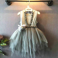 Wholesale ruffle vest clothing - Girls Irregular Tutu Party Dresses Cotton Sleeveless Vest 3D Ball Mesh Flora Sash Crepe Tutu Fashion Princess Clothing