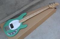 bajo cuerda verde al por mayor-Music Man 5 cuerdas Bajo Erime Ball StingRay Guitarra eléctrica Verde Menta Diapasón de arce 9V Batería Pastillas activas Pickguard blanco