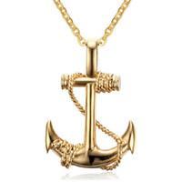 Wholesale Anchor Manufacturers - Wholesale necklace manufacturers EuropeStyle punk titanium steel boat anchor pendant necklace Corsair Jewelry