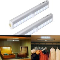 Portable 10 LED PIR Sensor Wireless Motion Sensing Wall Closet Cabinet Night Light com fita magnética Stick-on Anywhere Battery Operated