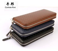 Wholesale Designer Mens Luxury Wallet - Business Men Long Wallet Designer Zipper Leather Male Purse Brand Mens Zipper Handy Bag Luxury Wallets carteira Masculina