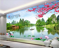 Wholesale mediterranean landscaping paintings for sale - Group buy 3d wallpaper custom photo non woven mural Chinese landscape garden room decoration painting d wall murals wallpaper for walls d