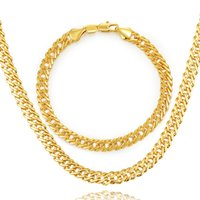 ingrosso timbro dell'oro reale dei monili 18k-Collana in oro set Gli uomini dei monili 18K Stamp 18K Real / Set di gioielli in platino / oro rosa placcato partito del braccialetto collana