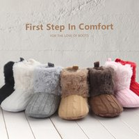 Wholesale baby shoes wool fur for sale - 2016 Infant Baby Girls Snow Boots Fur Knitted Wool Thicken Warm Toddler Boy Girl First Walker Shoes Infant Boots Newborn Shoes Free EMS