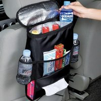 Wholesale Travel Bottle Storage Bag - Car Back Seat Organizer Auto Seat Multi-Pocket Travel Storage Bag Insulated Car Seat Back Drinks Holder Cooler Storage Bag Cool Wrap Bottle